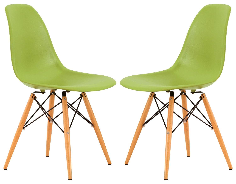 Amazon.com: leisuremod Dover de plástico moldeado lado silla ...
