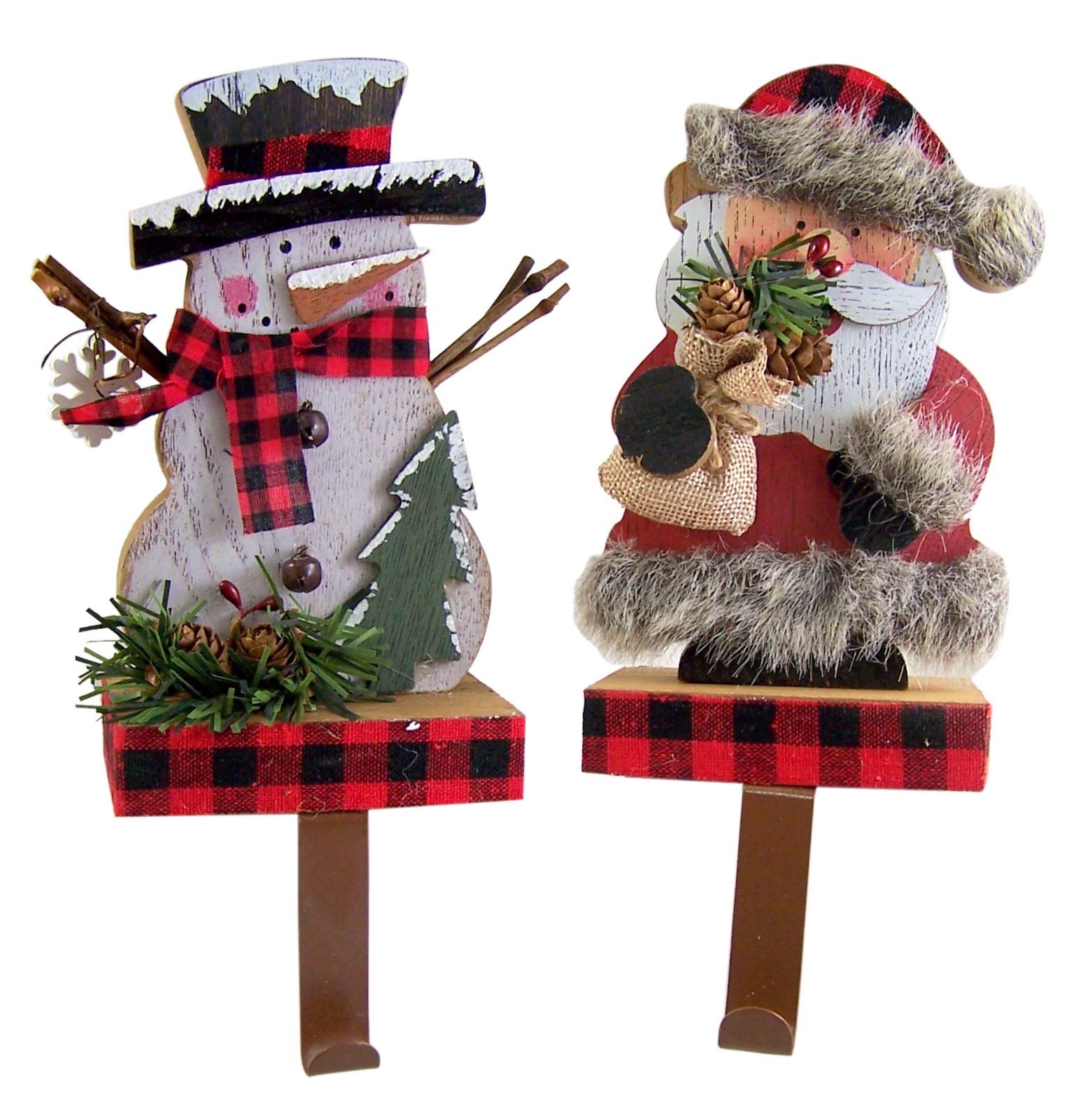 Christmas Decor Rustic Wooden Santa Claus and Snowman Stocking Holders, 7 1/2 Inches