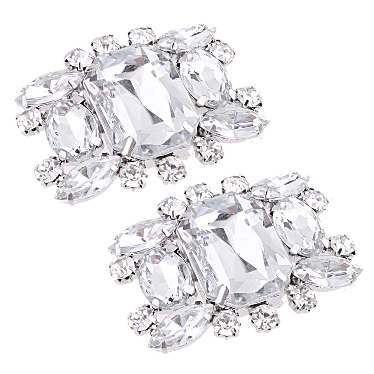 CHICTRY 1 Pair Shining Crystal Rhinestones Shoe Clips Women Fashion Charming Clutch Bag Dress Hat Shoes Decorations for Wedding Party Prom Type G One Size