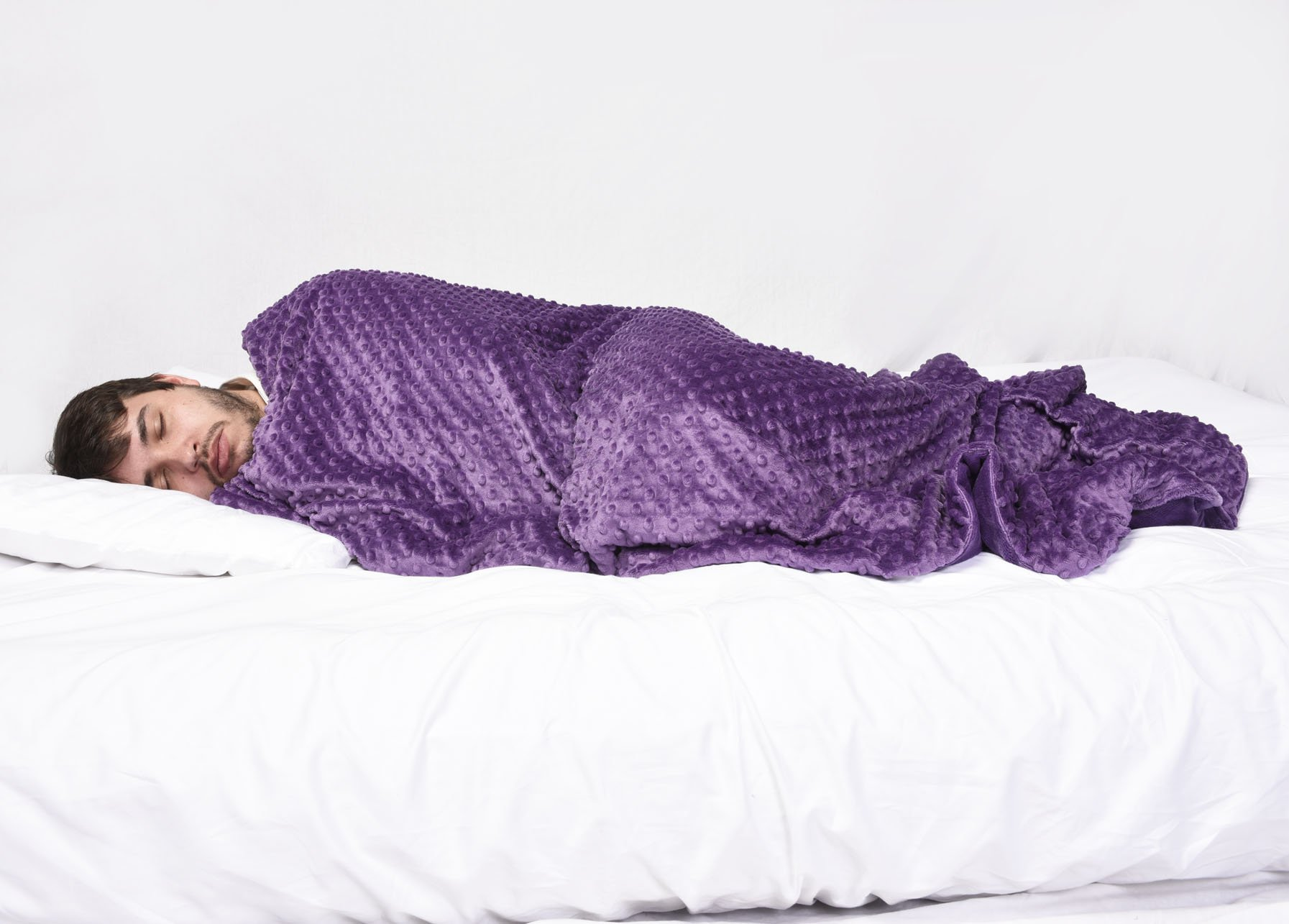 Creature Commforts Weighted 15lb Security Blanket for Adults and Teens - Great for Stress, Anxiety, ADHD, Autism, PTSD, Insomnia Relief, Removeable Comforter Cover, Extra Large, 40 x 60 (Purple)