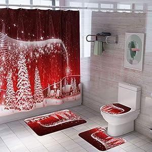 Smartcoco Christmas Series Santa Claus Snowman Reindeer Shower Curtain with Bath Mats Rugs Kit for Xmas Household Bathroom Decor