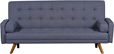 "Pulaski DS-D052-680-288 Mid-Century Biscuit Tufted Click Sleeper Sofa with Bolster Pillows, 81.5"" x 32.0"" x 36.0"", Blue Grey"