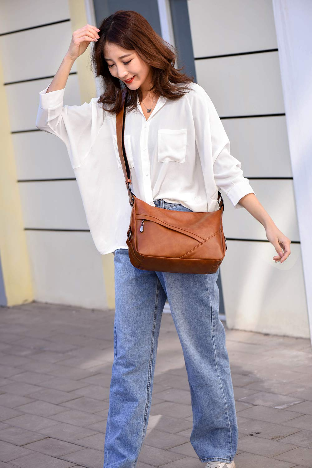 Women's Retro Sling Shoulder Bag from Covelin, Leather Crossbody Tote Handbag New Brown by Covelin (Image #7)