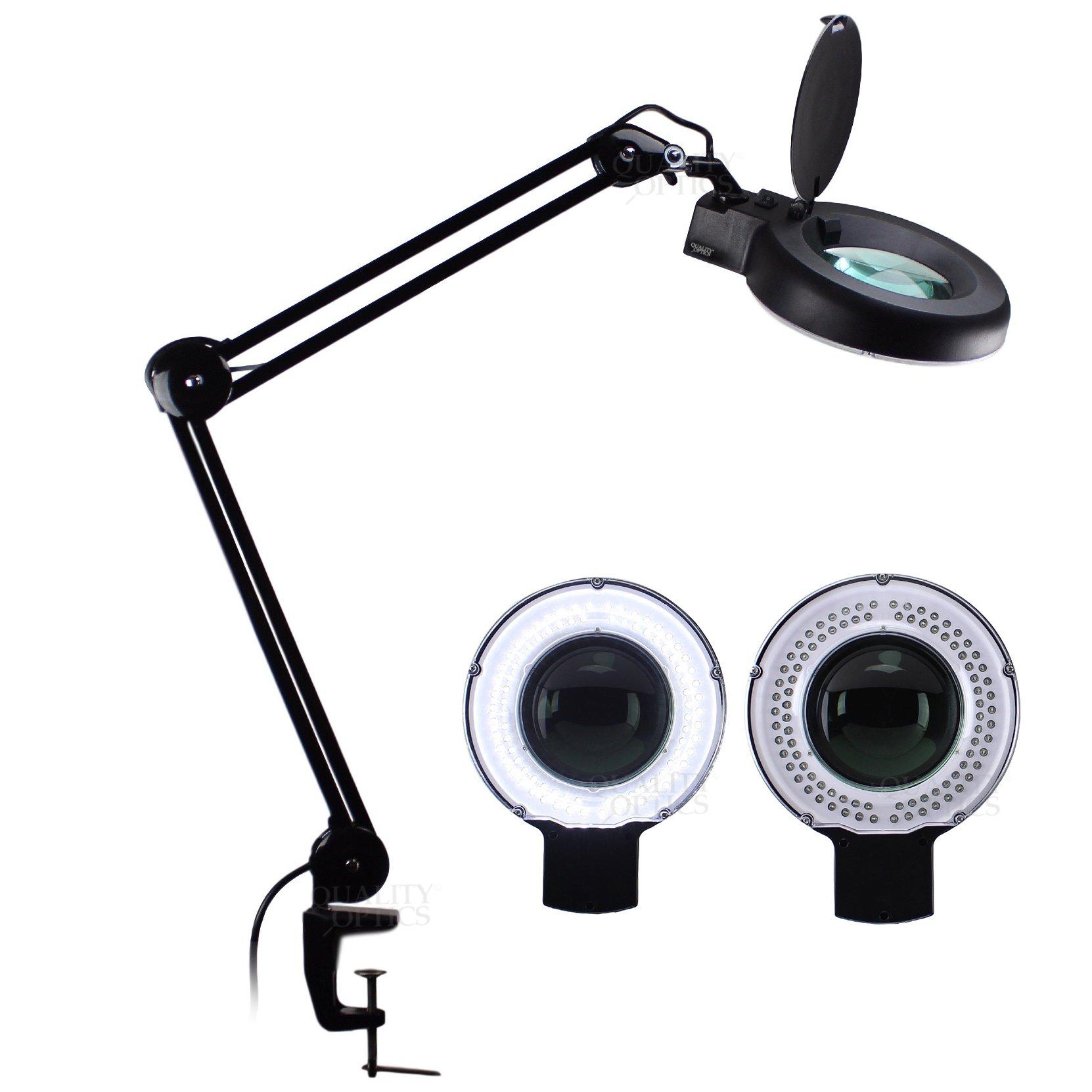 LED Desk Clamp Mount Magnifier Lamp Light Magnifying Glass Lens Diopter (8x, Black)