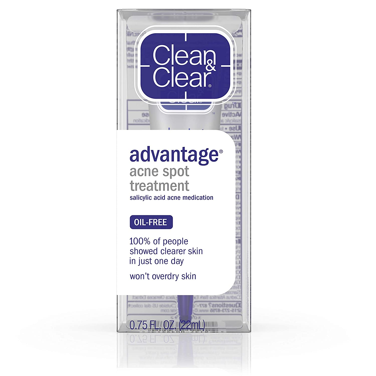 Clean & Clear Advantage Acne Spot Treatment, Oil Free Acne Treatment with Salicylic Acid, Witch Hazel, and BHA, Gel Pimple Cream for Adults and Teens, Witch Hazel & Salicylic Acid Medication,.75 oz