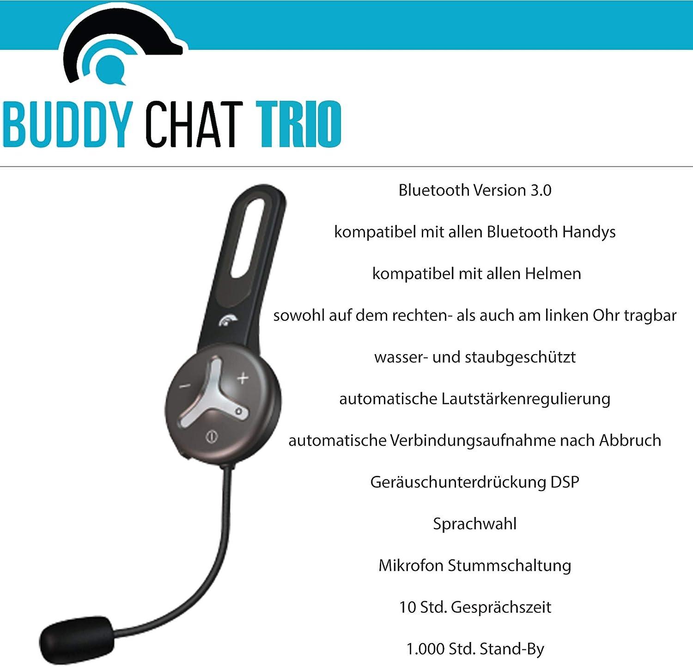 Buddychat Trio Bluetooth Intercom Helmet Headset Elektronik