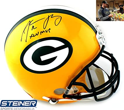 61b63bff0 Aaron Rodgers Autographed Signed Green Bay Packers Riddell Authentic NFL  Helmet with  quot XLV
