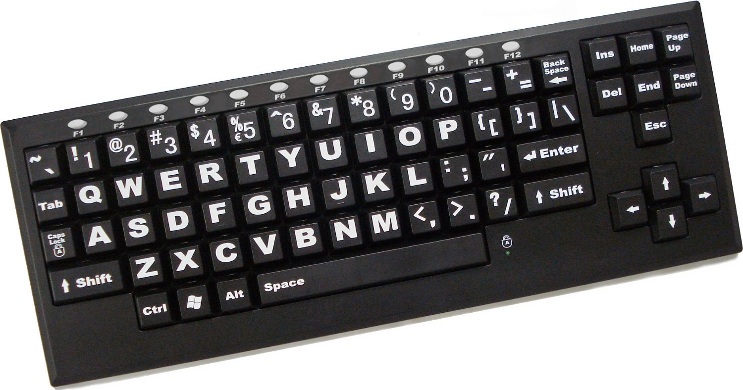 Large-Key Wireless VisionBoard Computer Keyboard-White Characters on Black Keys