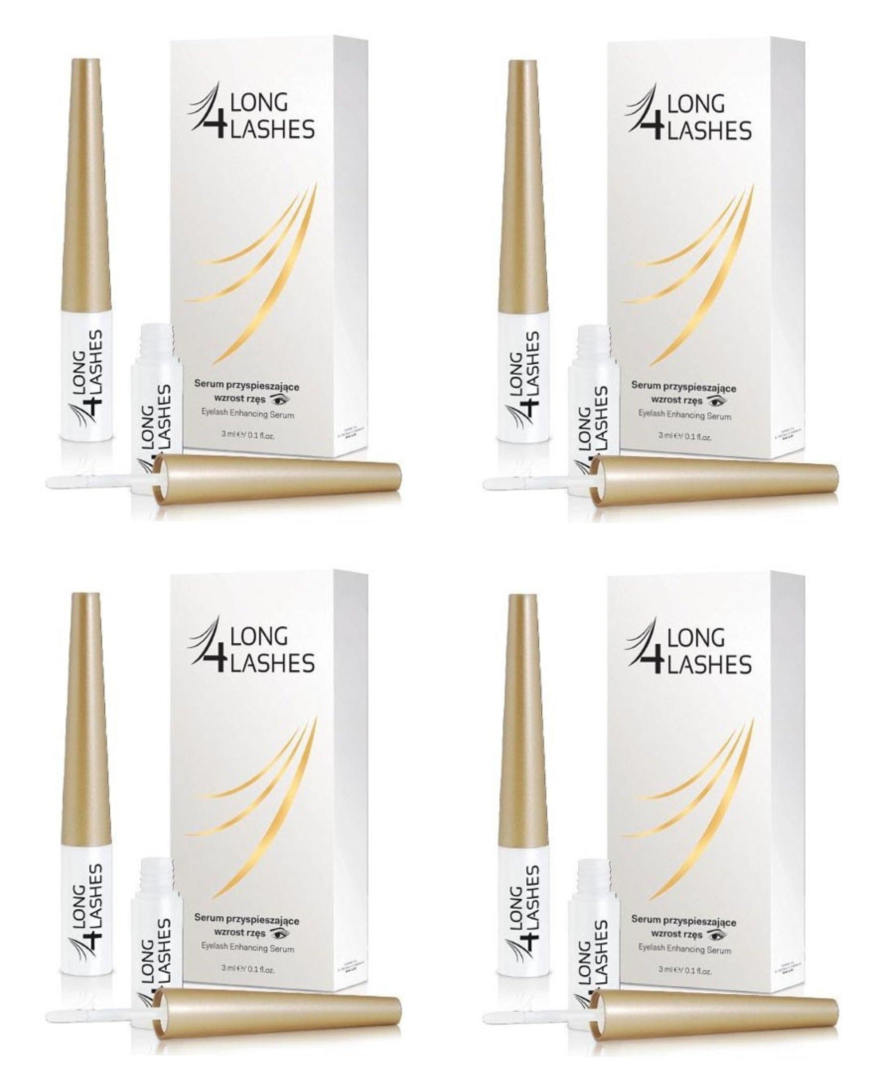 Long 4 Lashes by Oceanic Eyelash Enhancing Serum, 3 ml (Pack of 4)