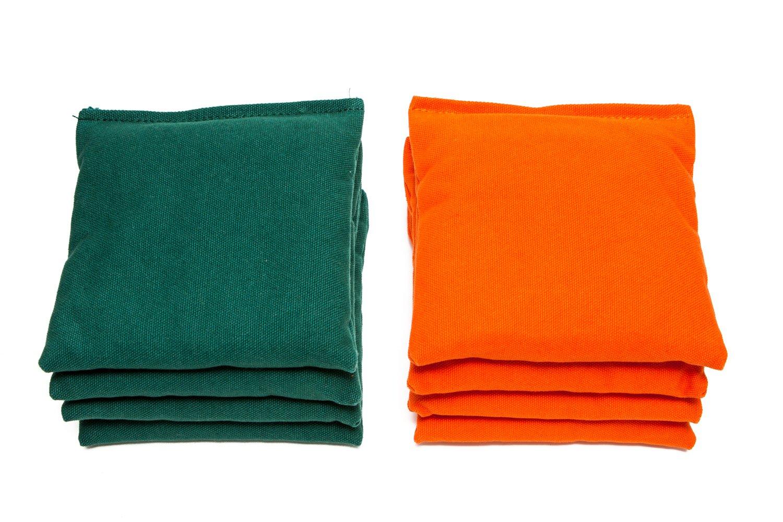 Weather Resistant Cornhole Bags (Set of 8) by SC Cornhole (Orange/Hunter Green)