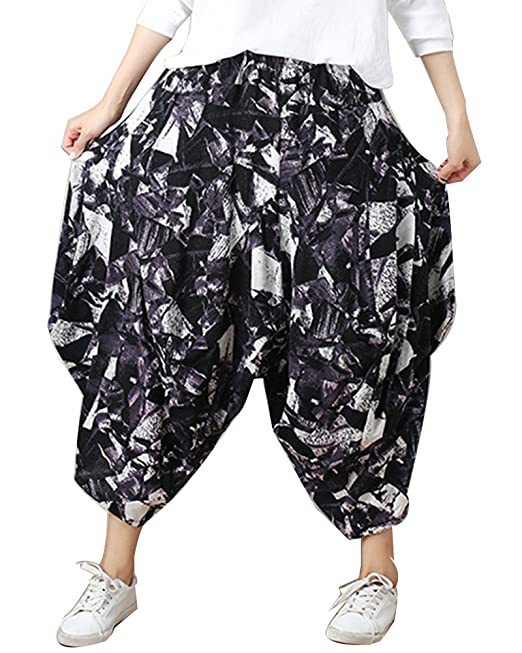 ShiFan Femmes Sarouel Pantalons Aladdin Pantalons De Imprimé Pantalon Baggy  Pantacourt Noir Blanc M e1298953e2e6