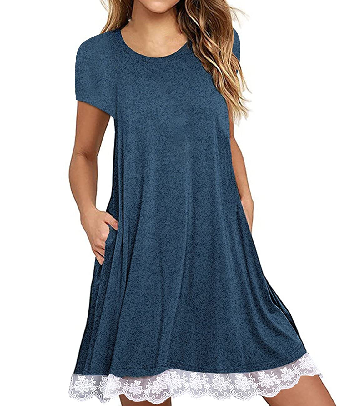 698de87ecb0 A-line tunic dress is featuring short sleeve,pockets on two sides,crew neck, lace hem,plus size t shirt dress, above knee length,loose and casual style.