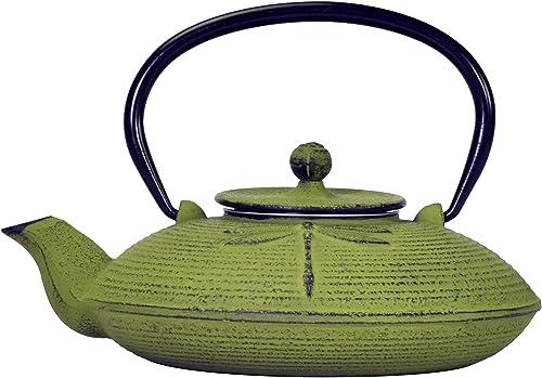 Primula Pci-5228 Zielona ważka japoński czajniczek żeliwny Tetsubin Cast Iron Teapot