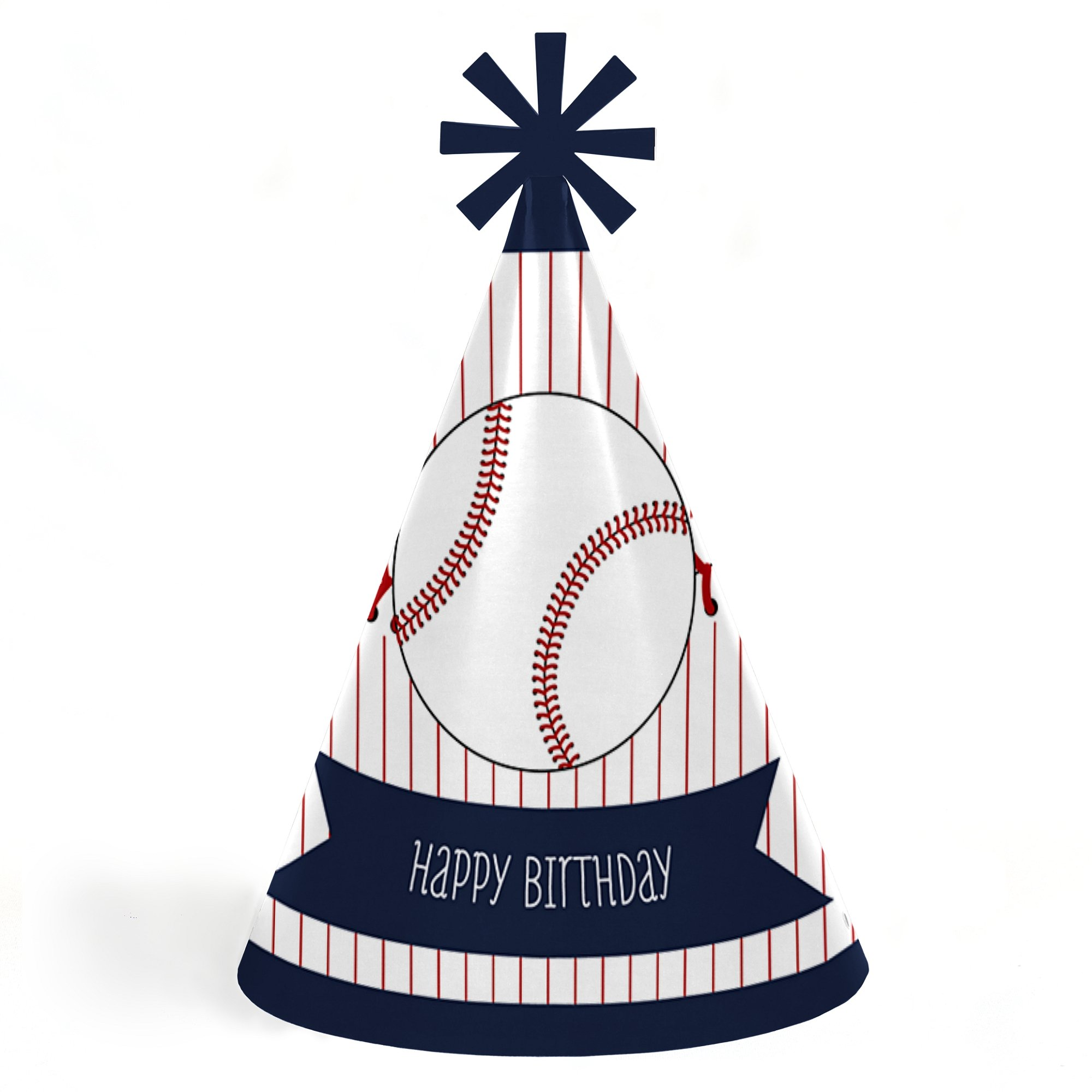 Batter Up - Baseball - Cone Happy Birthday Party Hats for Kids and Adults - Set of 8 (Standard Size) by Big Dot of Happiness