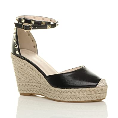fa7d90ee4a82 Ajvani Womens Ladies high Wedge Heel Studded Ankle Strap Espadrilles Sandals  Size 7 40 Black