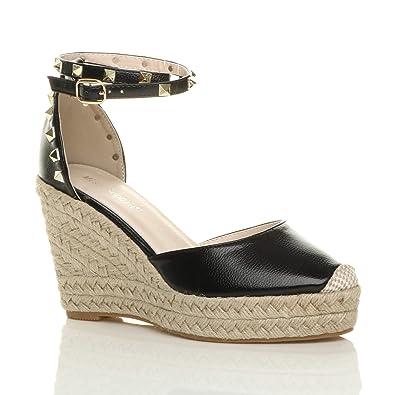e6e2e89aea7412 Ajvani Womens Ladies high Wedge Heel Studded Ankle Strap Espadrilles Sandals  Size 7 40 Black