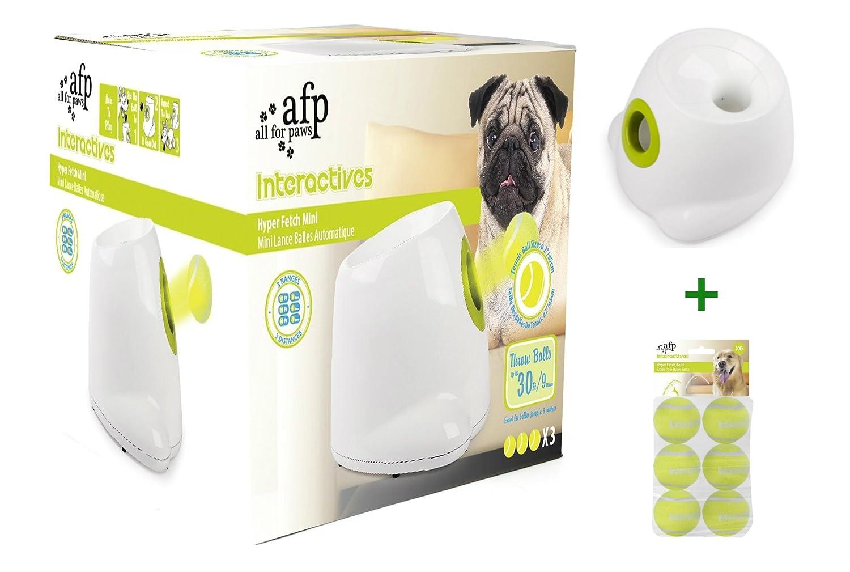 AFP Hyper Fetch Mini Automatische Ballwurfmaschine für Hund Ball Bündle | Interactive Ballmaschine | Apportiermaschine mit 3 Wurfweiten | Intelligenzspielzeug für Große und Kleine Hunde | 21 x 26 x 27cm | All for Paws | + 6 Super Bounce Ersatzbälle GRATIS