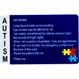 Autism Alert Card - ADHD Awareness Cards - Customized Name & Emergency Contact - 2 Pack, Made in USA by Secure ID