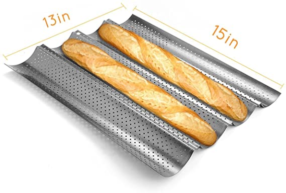 Cuisson De Pain Fran/çais 3 Pains Ondul/és Moule /à Toast Bakers Khaki Aoweika Moule /à Baguette en Silicone Moule /à Pain Perfor/é Antiadh/ésif Forme De Pain Plateau /à Pain