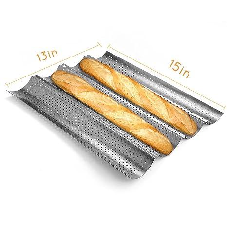 Romote Molde para Hornear Bakingform Baguettes de Pan Francés Metall Perforado Wave Pan de Molde 4