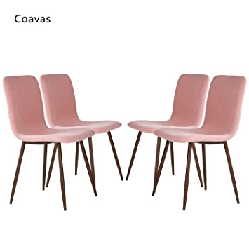 Amazon.com - Set of 4 Dining Chairs Coavas Fabric Cushion Kitchen ...