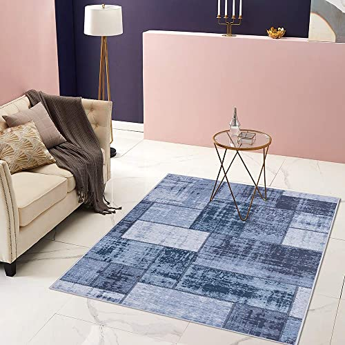 jinchan Area Rug Colorblock Patchwork Mix Abstract Modern Floorcover Indoor Soft Low Pile Mat for Bedroom Living Room Kitchen Blue 4 x 6 7