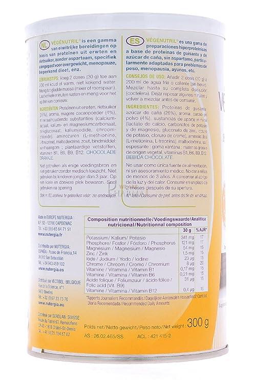 Nutergia Vegenutril Chocolate Complemento Alimenticio - 300 gr: Amazon.es: Salud y cuidado personal