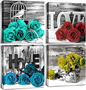 Black and White Floral Wall Decor Pictures for Bedroom Wall Art Colorful Rose Bathroom Canvas Prints Still life Flower Wooden Texture Home Decoration Modern Framed Office Artwork 12x12 Inch 4 Pcs/Set