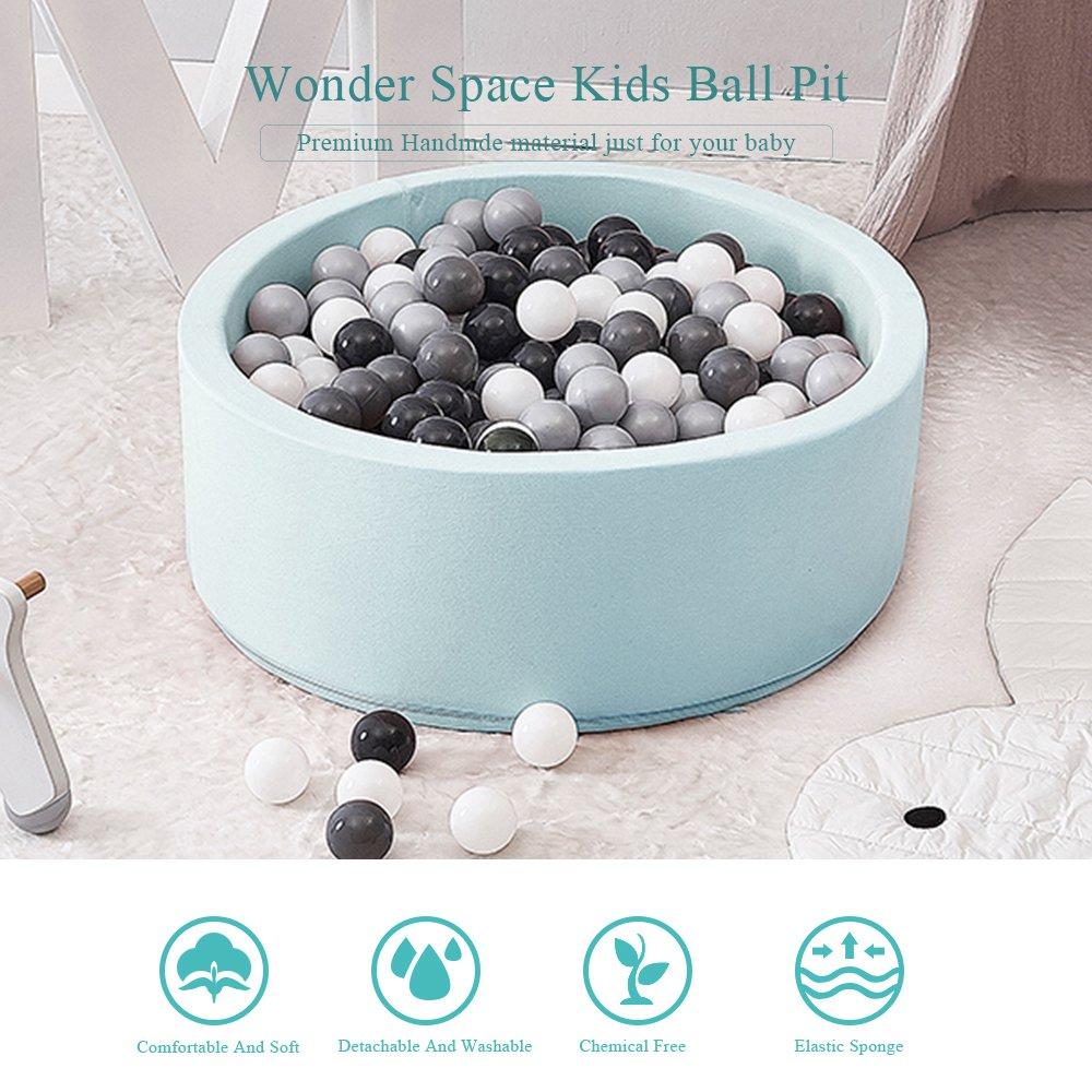 Wonder Space Deluxe Kids Round Ball Pit, Premium Handmade Kiddie Balls Pool, Soft Indoor Outdoor Nursery Baby Playpen, Ideal Gift Play Toy for Children Toddler Infant Boys & Girls (Light Blue) by Wonder Space (Image #6)