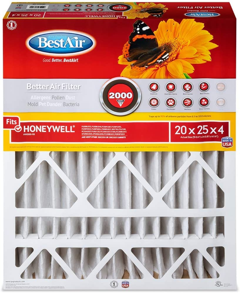 BestAir HW1620-8R AC Furnace Air Filter For Honeywell Models Removes Allergens /& Contaminants 16 x 20 x 4 MERV 8 Pack of 3 Fits 100/%