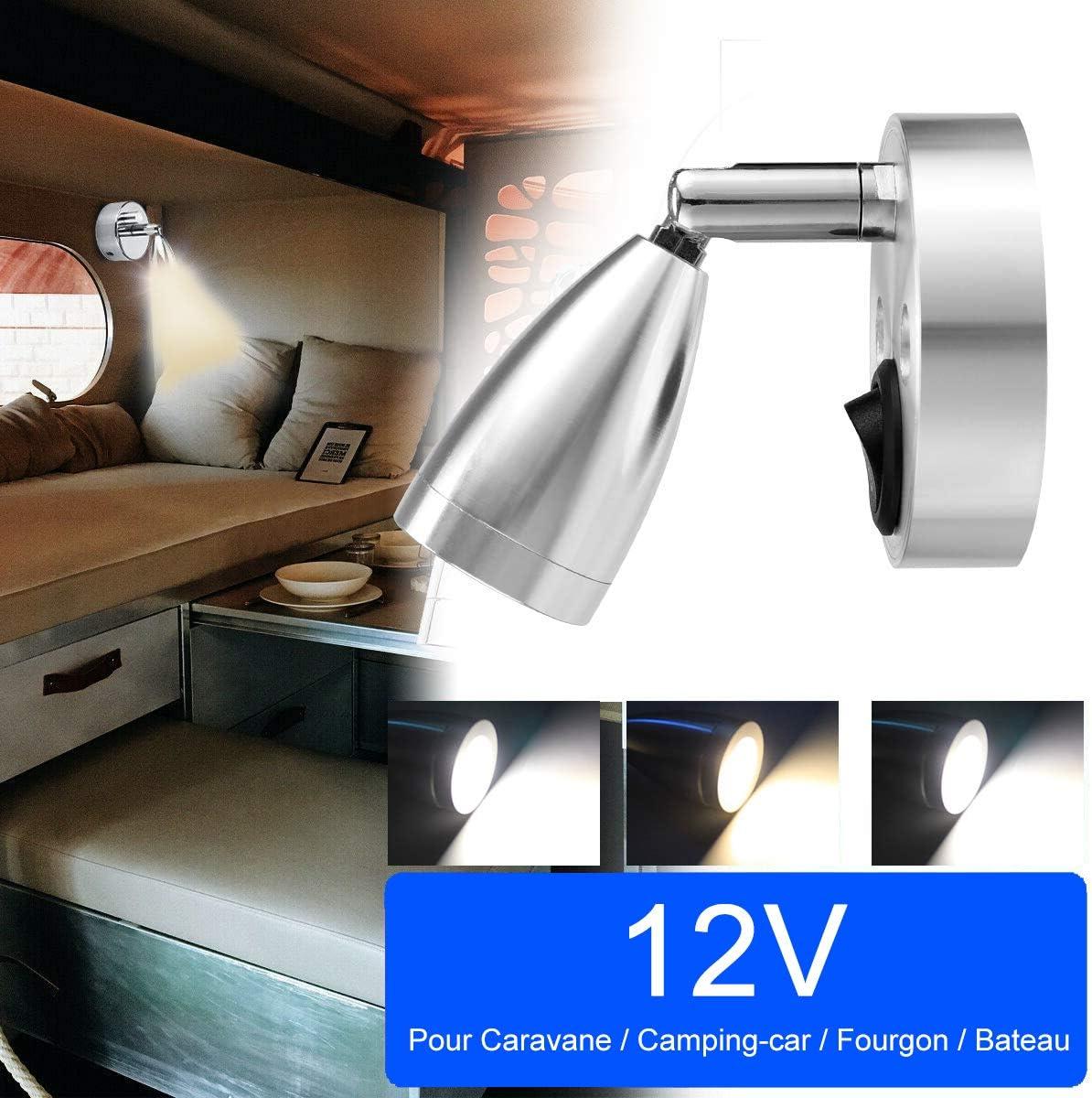 2 PCS Applique Murale de Lecture 180/° R/églable avec Interrupteur pour Camping Car Van Bateau Led Lumi/ère Int/érieure 3W 12V LED Lampe de Lecture pour RV