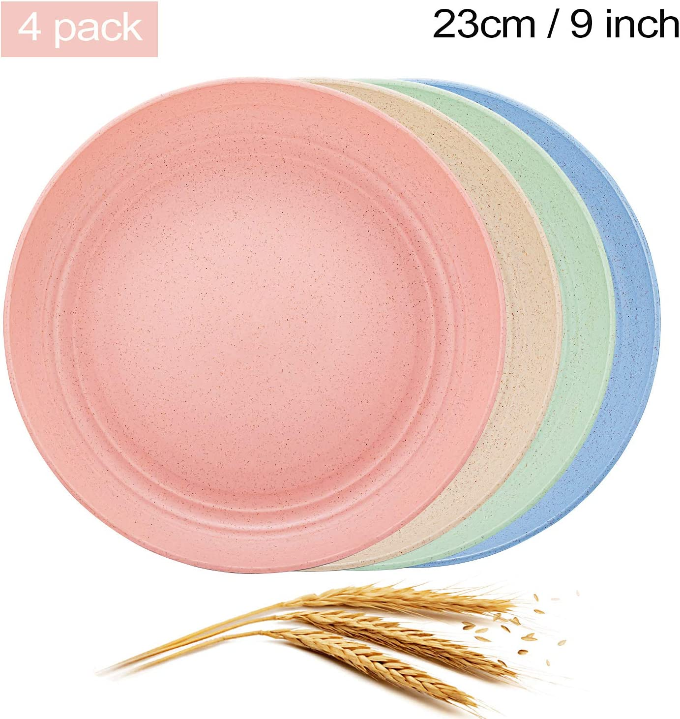 Aaskuu Unbreakable Lightweight Wheat Straw Plates, Reusable 9 Inch Plate Set for Kids Children Toddler Adult, Degradable Dinner Plates, BPA Free, Dishwasher & Microwave Safe,4 Pack