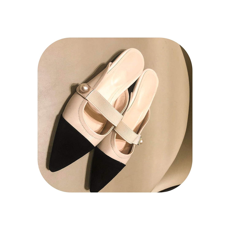 Beige Slippers Woman Small Fragrance Women Slides shoes Female Sheepskin Flat MUL,