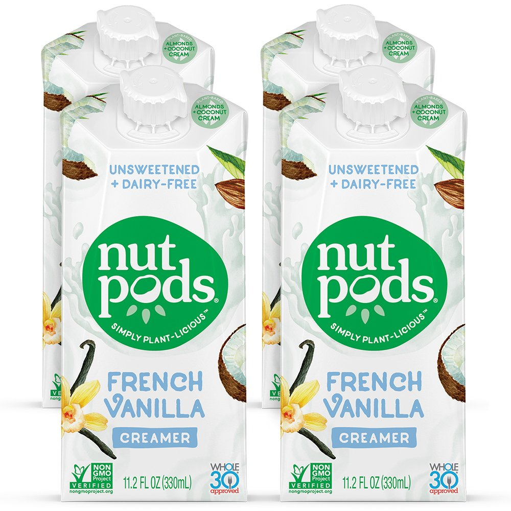 nutpods Dairy-Free Creamer Unsweetened (French Vanilla, 4-pack) - Whole30/Paleo/Keto/Vegan/Sugar Free