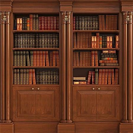 Leowefowa 3x3m Vinilo Telon de Fondo Estantes de Libros de Fondo Libros Viejos Estantería de Madera Biblioteca Fondos para Fotografia Party Photo ...