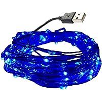 dzydzr 10m/33ft USB LED Guirlande lumineuse fil de cuivre 100LED étanche étoile lumineuse pour intérieur et extérieur, anniversaire, mariage, fête de Noël (Bleu)