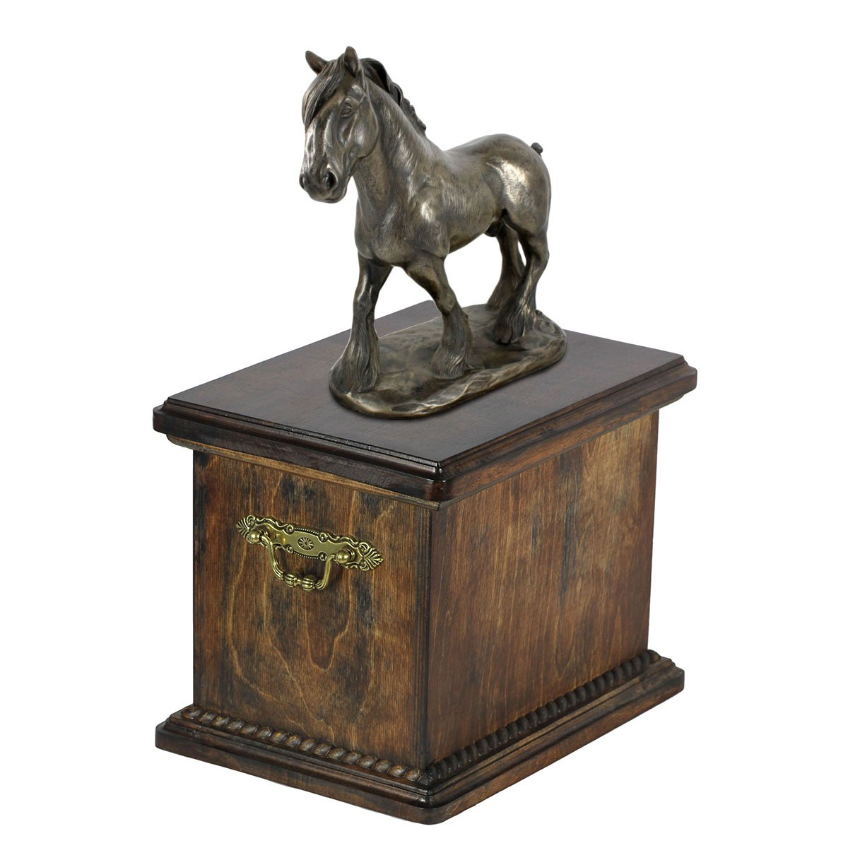 Shire, urn for horse's ashes, with horse statue, une urne pour les cheval cendres, ArtDog