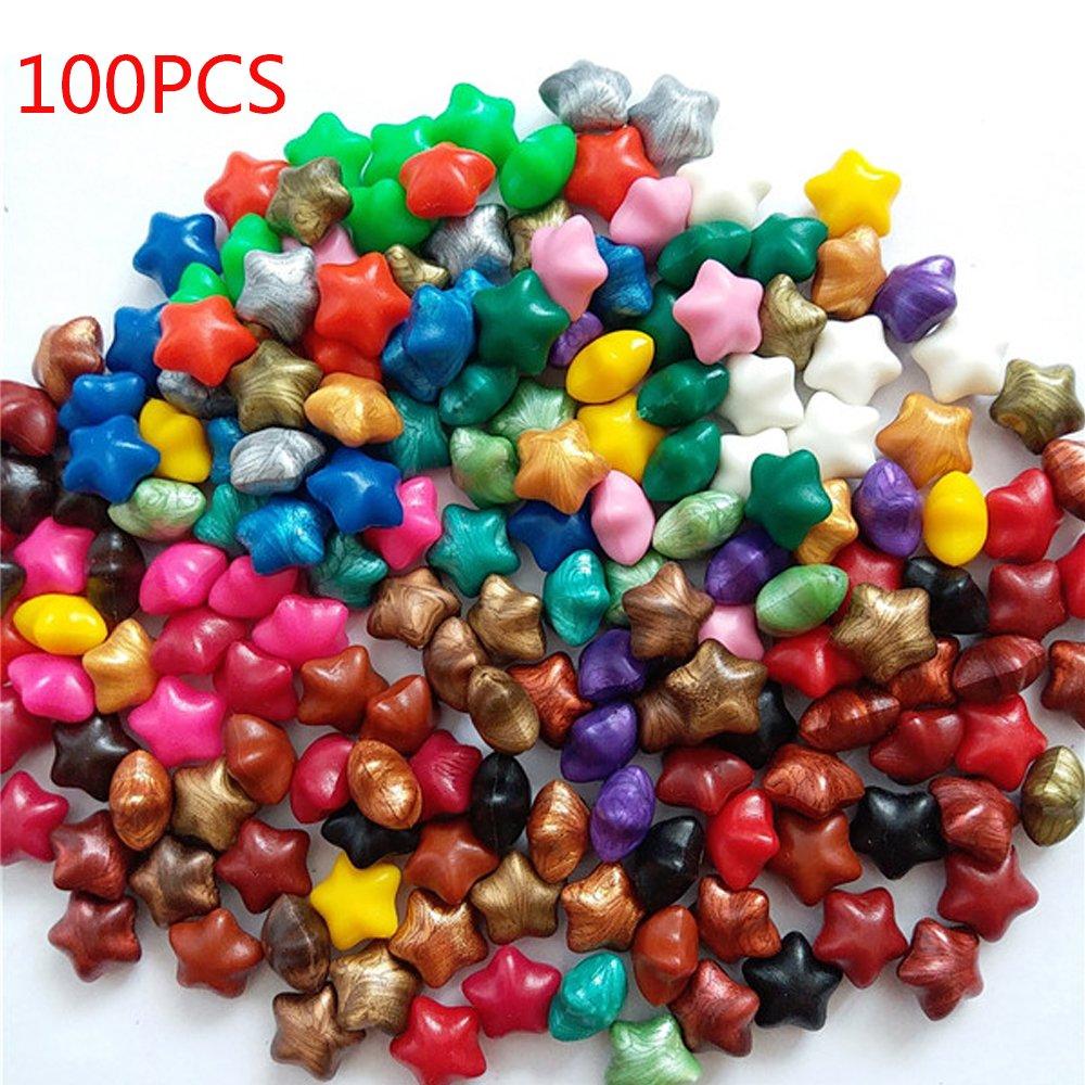 100 unids perlas de cera de lacre, colorido suerte forma de estrella lacre de cera perlas bricolaje idea de decoración para el sello de cera sobres sobres cartas de felicitación - arco iris Yunhigh