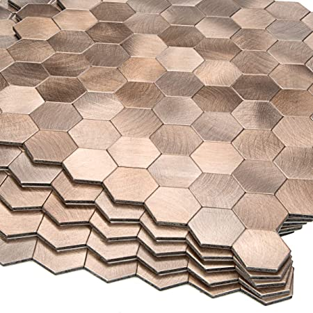 Decopus Peel and Stick Tile Backsplash Honeycomb- Goldish Copper Stick on Metal Wall Tiles for Kitchen, Bathroom, Cabinet Doors, Accent Walls, 5pack