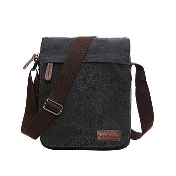 Black Small  Super Modern Canvas Messenger Bag Shoulder Bag Laptop Bag  Computer Bag Satchel Bag 11858e9c02