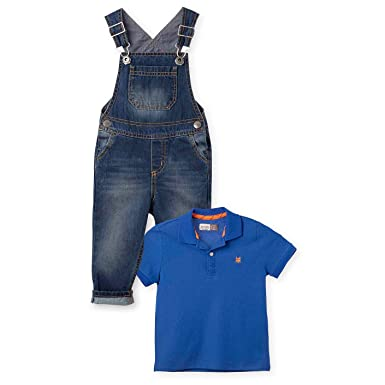OFFCORSS Infant and Toddler Brother Twin Matching Outfit Baby Boy Bib Overall & Pique Polo Shirt