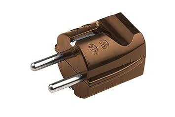 Kunststoff 250 V IP20 Innenbereich Meister Schutzkontakt-Stecker Maximaler Kabelquerschnitt 2,5 mm/² Gerade Einf/ührung // Schuko-Stecker mit Zugentlastung // 7421050 braun 16 A