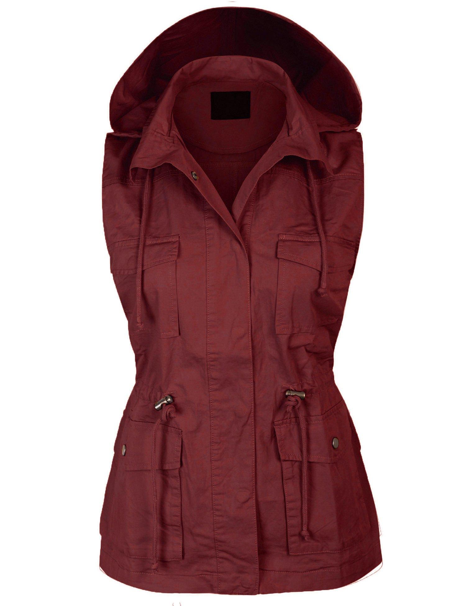 KOGMO Womens Military Anorak Safari Utility Vest with Hood-3X-WINE by KOGMO (Image #1)