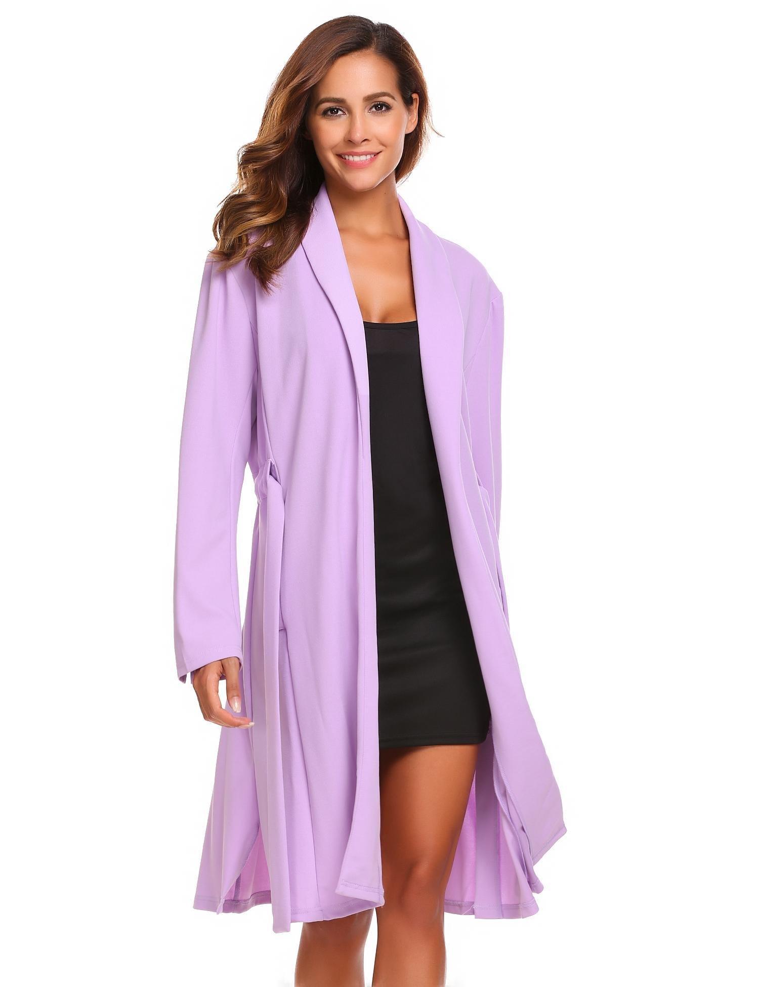 etuoji Women Waffle Dressing Down Bathing Robe for Spa Hotel Sleepwear(Light Purple,Size XL) by etuoji (Image #2)