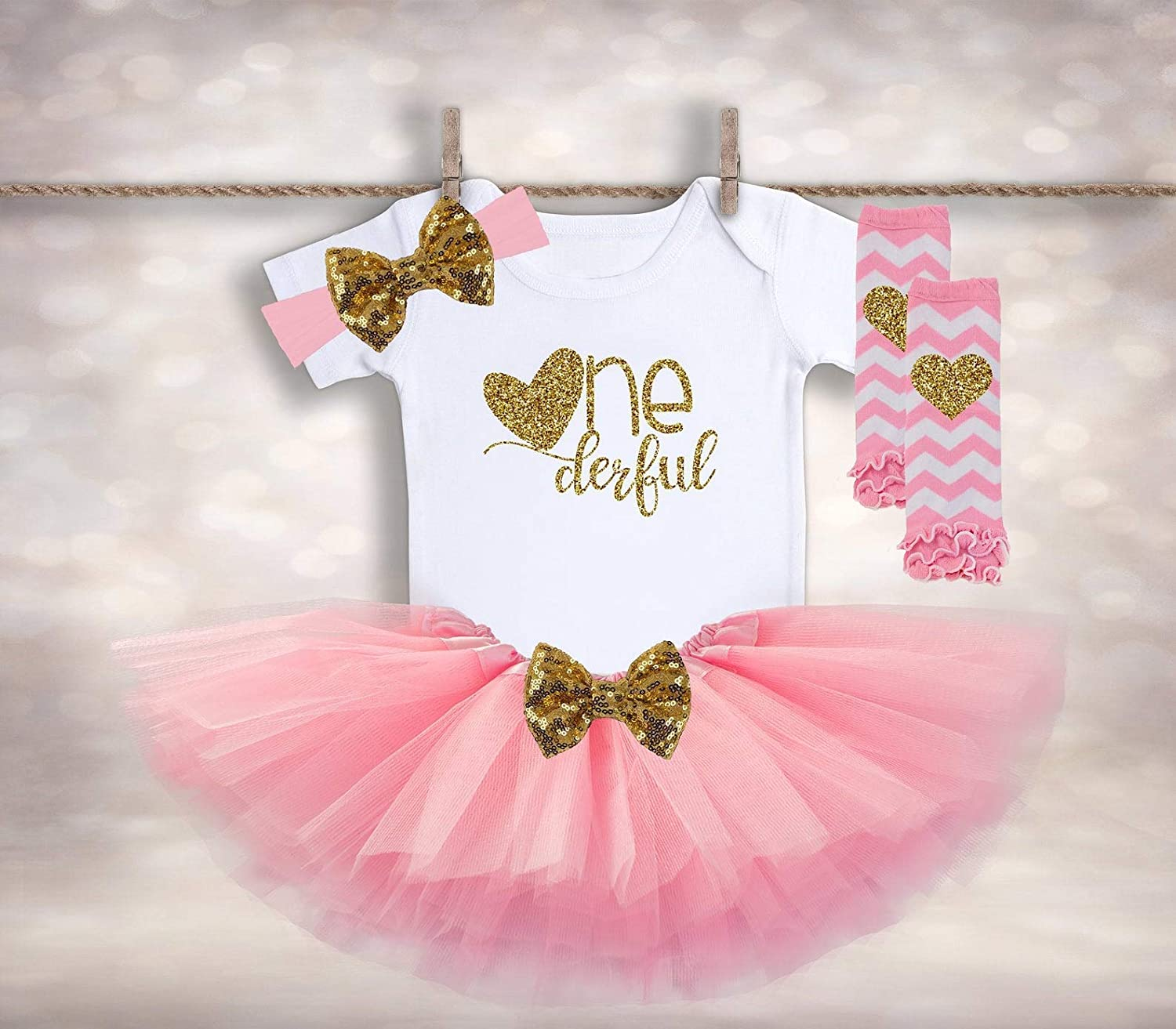 Girls 1st birthday outfit personalized birthday outfit pink and gold first birthday outfit Cake smash outfit 1st birthday tutu outfit