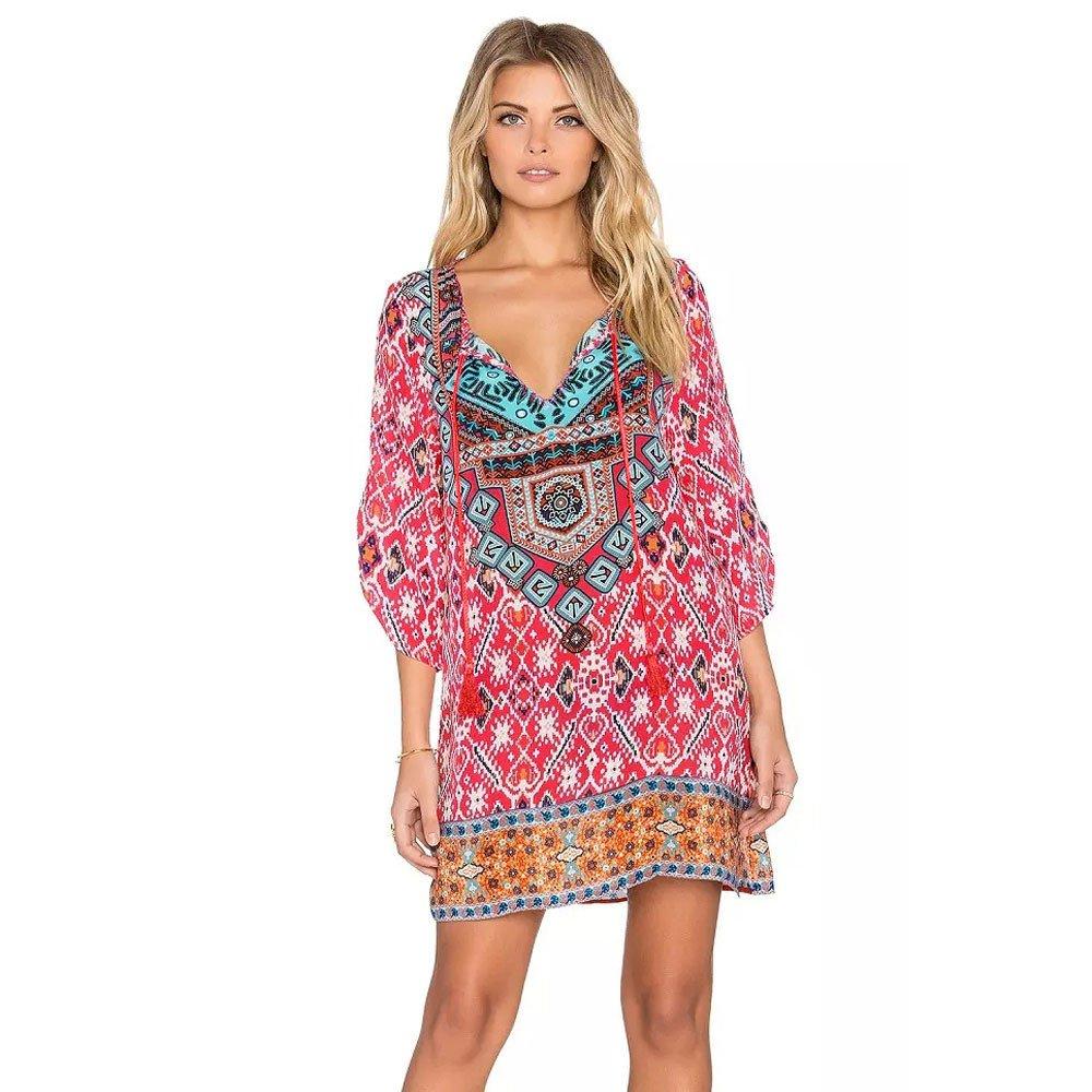 KPILP Frauen Vintage Folk-Custom Minikleid 3/4 Ärmel Geometrische Musterdruck Lose Sommerkleid Party Abend Formelle Kleidung