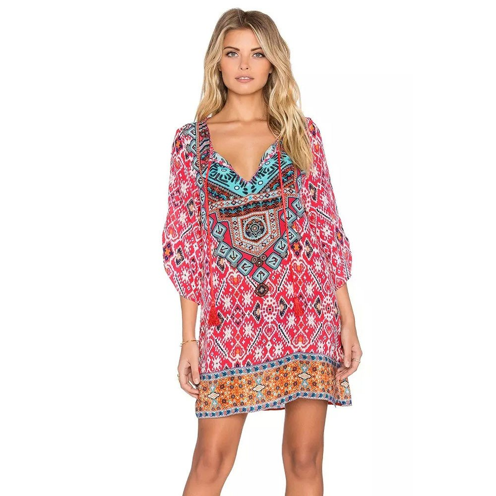 Women Dress,ST.Dona Hot Sale 3/4 Sleeves V Neck Bohemian Style Vintage Geometric Pattern Printed Loose Summer Dress (XL)