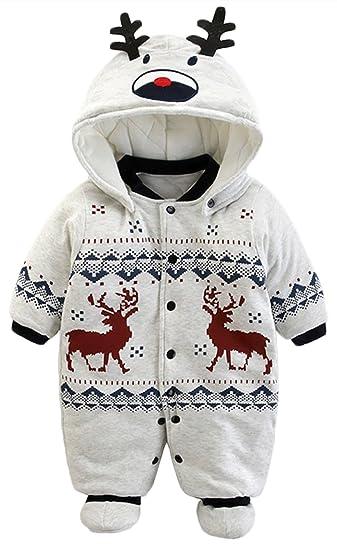 001f5d26c7571 Newborn Boy Girl Christmas Deer Print Hooded Romper Warm Cotton-Padded  Jumpsuit size 0-