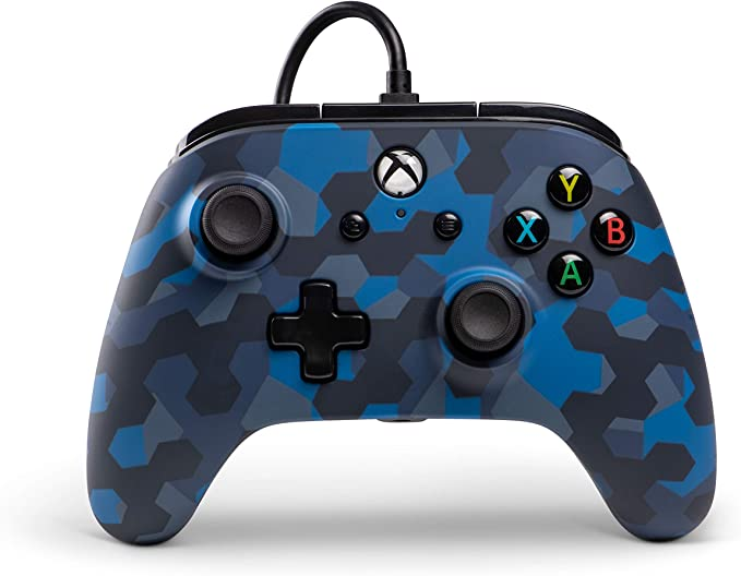 PowerA Mando con Cable con licencia oficial para Xbox One, Xbox One S, Xbox One X y Windows 10 - Camuflaje azul sigilo: Amazon.es: Videojuegos