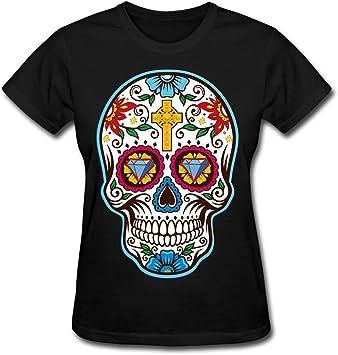 t shirts De la Mujer Gran azúcar Calavera Mexicana para el día de los Muertos Camiseta, Dia de los t 074, Negro: Amazon.es: Deportes y aire libre